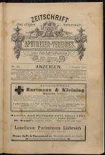 Anzeigenband zu 'Zeitschrift des allgemeinen österreichischen Apotheker-Vereines'