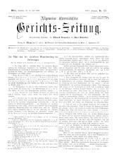 Allgemeine Österreichische Gerichtszeitung 18930715 Seite: 1