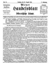 Wiener Handelsblatt: wirtschaftspolitische Tageszeitung zur Förderung von Industrie, Handel und Export