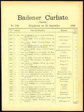 Cur- und Fremden-Liste des Curortes Baden bei Wien 18930925 Seite: 1