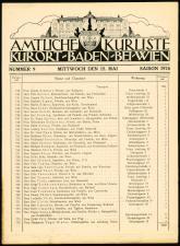 Cur- und Fremden-Liste des Curortes Baden bei Wien