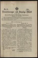 Verordnungs- und Anzeige-Blatt der k.k. General-Direction der österr. Staatsbahnen 18930715 Seite: 1
