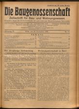 Die Baugenossenschaft. Zeitschrift für Bau- und Wohnungswesen