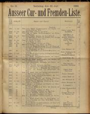 Cur- und Fremden-Liste des Badeortes Aussee