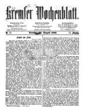 Kremser Wochenblatt : Zeitschrift für Unterhaltung, landwirthschaftliche und industrielle Interessen
