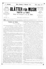 Blätter für Musik, Theater und Kunst
