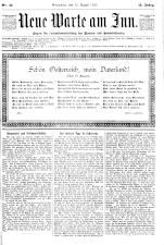 Neue Warte am Inn 18900816 Seite: 1