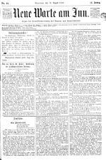 Neue Warte am Inn 18930812 Seite: 1