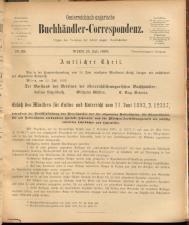 Oesterreichische Buchhändler-Correspondenz 18930715 Seite: 1