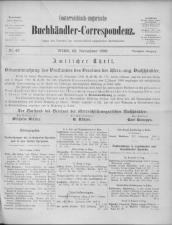 Oesterreichische Buchhändler-Correspondenz 18991122 Seite: 1