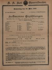 Theaterzettel des Hof-Operntheaters / Staatsoper (tit. fict.)
