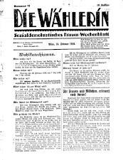 Die Wählerin. Sozialdemokratisches Frauen-Wochenblatt