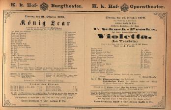 Theaterzettel der beiden k.k. Hoftheater und des k.k. priv. Theaters an der Wien und ihrer Nachfolgerinstitutionen (tit. fict.) 18791021 Seite: 1
