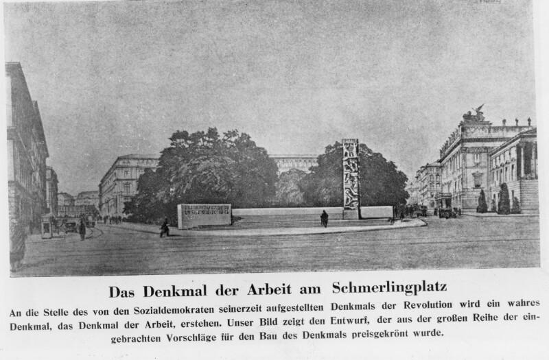 """Entwurf für ein """"Denkmal der Arbeit"""" statt des Denkmals der Republik am Schmerlingplatz"""