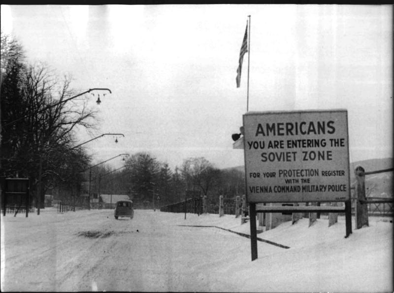 Amerikanisch-sowjetische Zonengrenze im besetzten Österreich