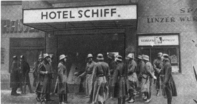 Besetzung des sozialdemokratischen Parteiheims im Hotel 'Schiff' in Linz