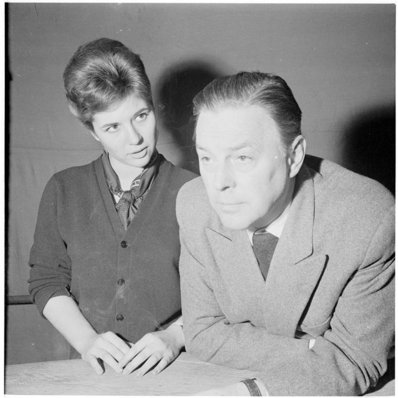 Hans Holt und Christiane Hörbiger, Szene. Fernseh-Probe zu 'Der jüngste Tag'