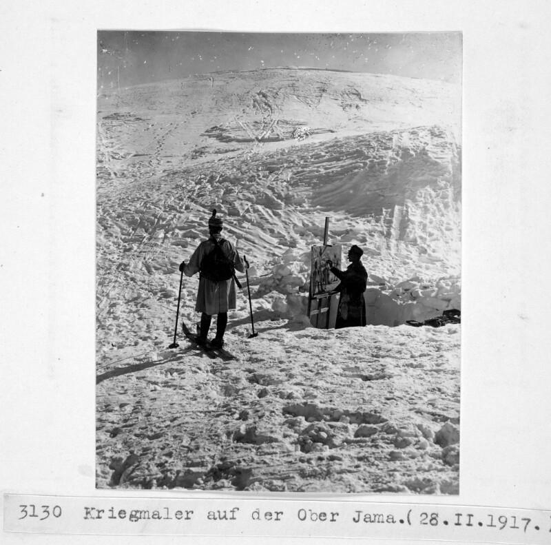 Kriegsmaler auf dem Monte Jama
