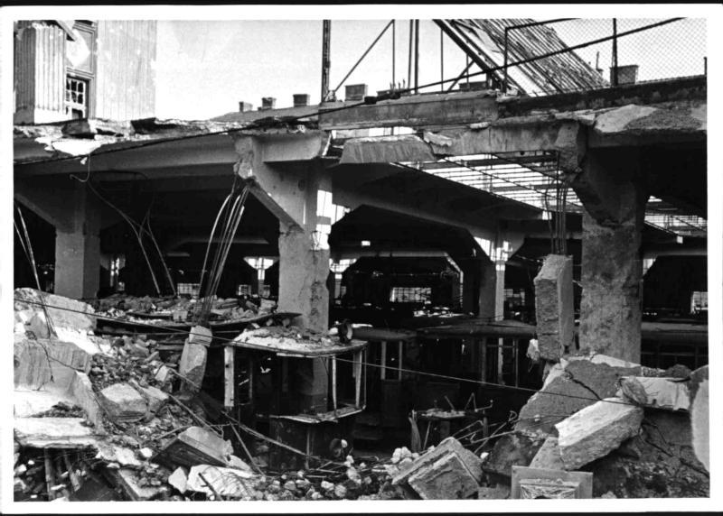 Bombenschäden an der Straßenbahnremise Koppreitergasse