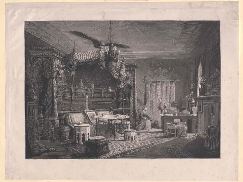"""Rudolf, Kronprinz von Österreich und seine Ehefrau Stephanie im """"Türkischen Zimmer"""" in der Hofburg"""