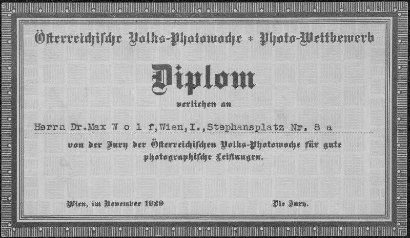 Diplom der Österreichischen Volks-Photowoche