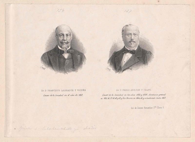 Bildnisse Francisco Labrador y Vicuña (+1874) und Pablo Abejón y Calvo (um 1870).