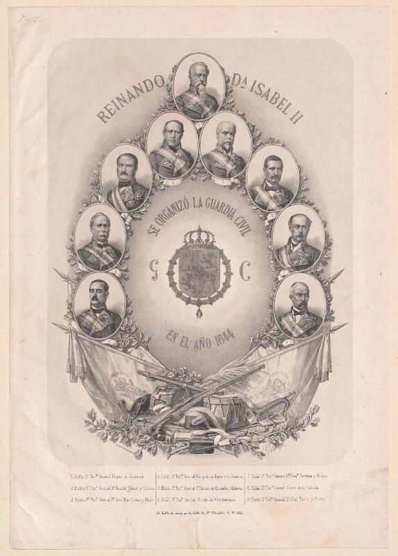 Bildnisse der neun Generale der spanischen Guardia Civil 1844