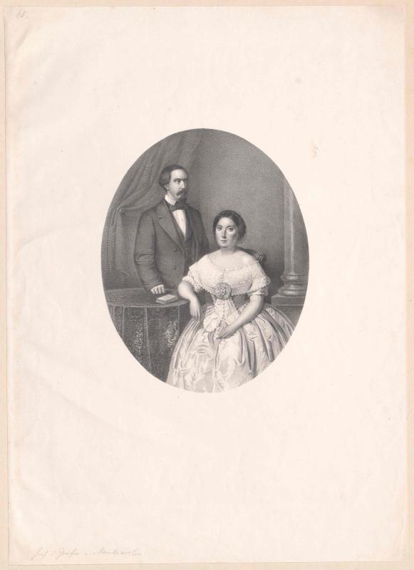 Bildnis Karl, Infant von Spanien (1818-1861) mit Gemahlin Karoline, Prinzessin beider Sizilien (1820-1861)