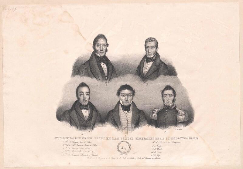 Bildnisse von fünf Prokuratoren der spanischen Cortes Generales de la Legislatura von 1834.
