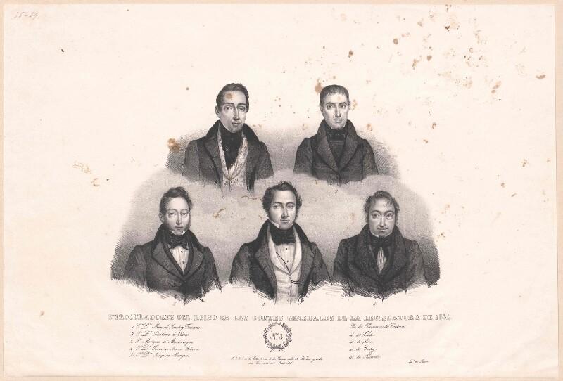 Bildnisse von fünf Prokuratoren der spanischen Cortes Generales de la Legislatura von 1834