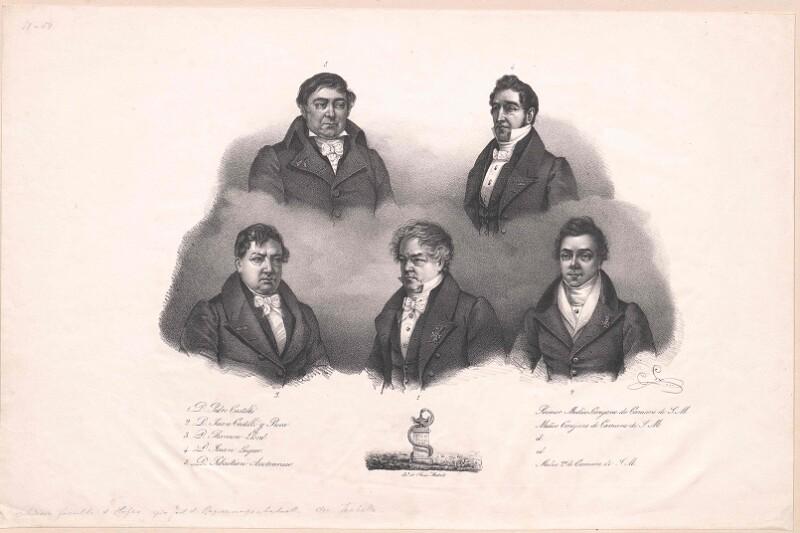 Bildnisse von fünf am spanischen Königshof um 1835 tätigen Ärzten