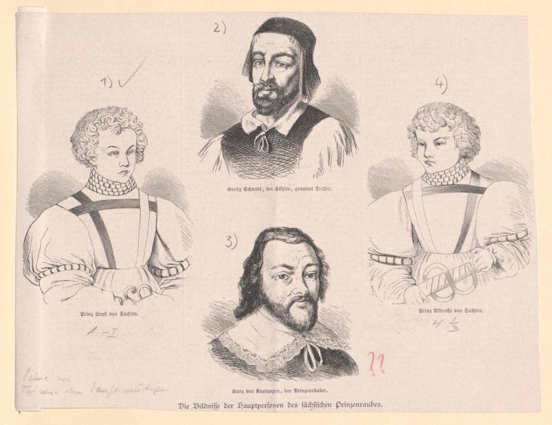 Gruppenbild Die Hauptbeteiligten im Altenburger oder Sächsischen Prinzenraub 7./8. Juli 1455