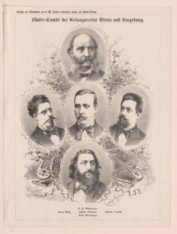 Gruppenbild Das Fünferkomitee der Gesangsvereine Wiens und Umgebung
