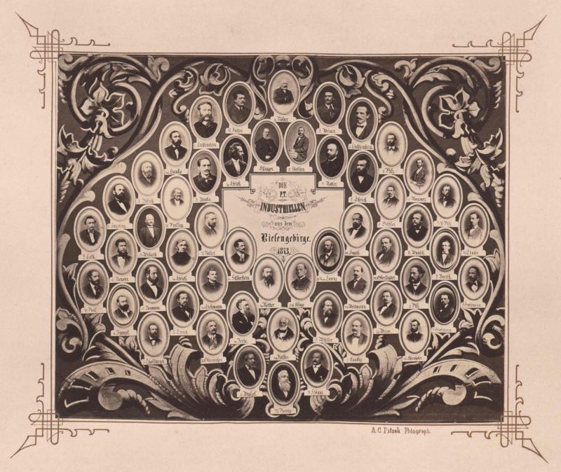 Gruppenbild Collage Industrieller aus dem Riesengebirge 1873