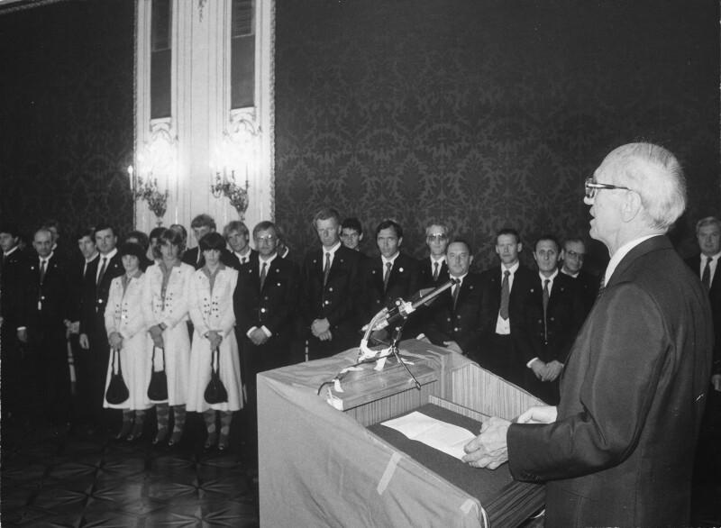 Angelobung der Olympiateilnehmer durch Bundespräsident Kirchschläger