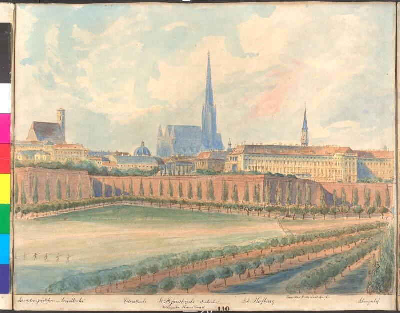 Wien: Rundgang um die Bastei vor der Demolierung der Befestigung in 13 Ansichten, gezeichnet und aquarelliert von Emil Hütter (+1886). 7. Teilansicht.