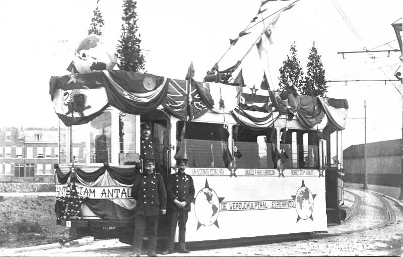 Geschmückte Esperanto-Straßenbahn, Den Haag 1910