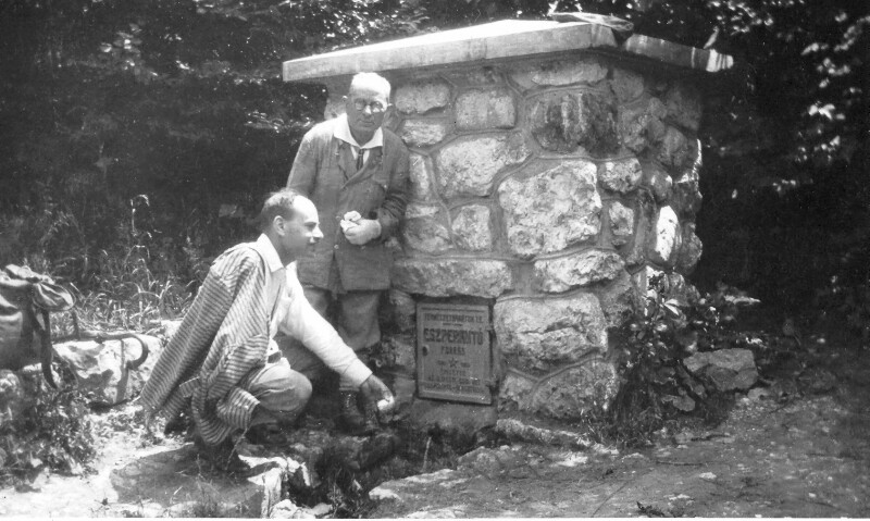 Pál Balkányi mit Vater bei der Esperanto-Quelle, Piliscsév 1930
