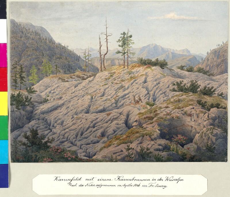 Karrenfeld mit einem Karrenbrunnen in der Wiesalpe, 1846