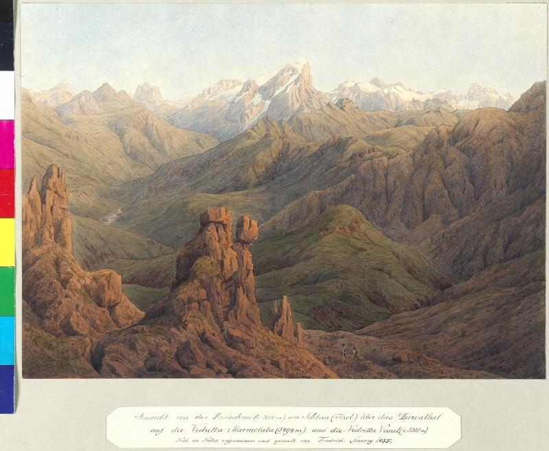 Aussicht von der Rosszahnen am Schlern (Tirol) über das Durontal, 1856