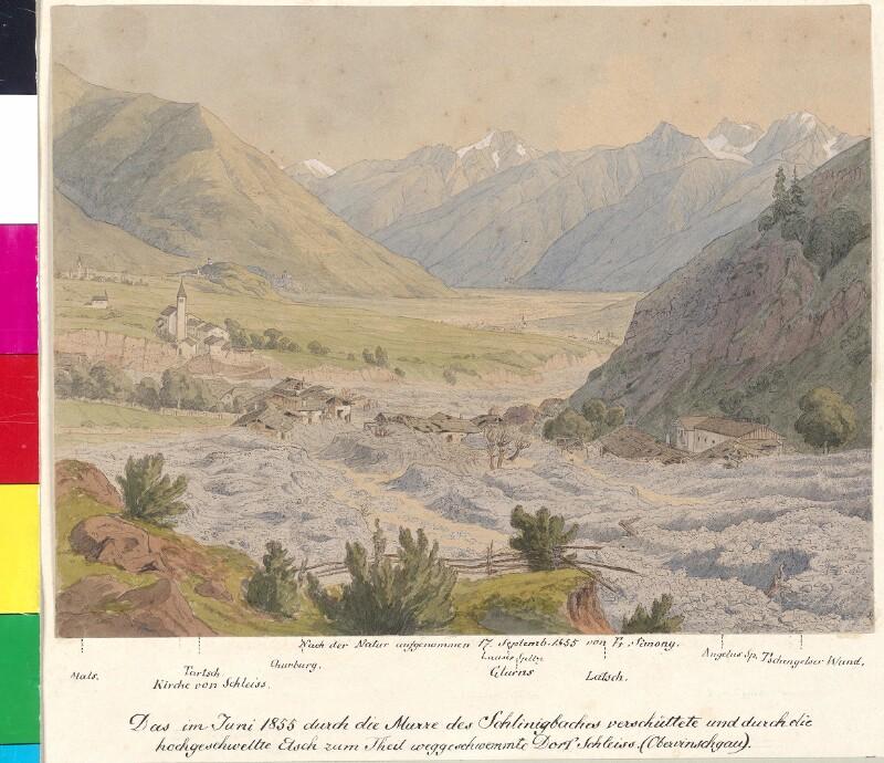 Das 1855 zum Teil weggeschwemmte Dorf Schleiß (Obervinschgau)
