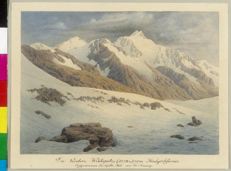 Die vordere Wildspitze vom Hochjochferner, 1855