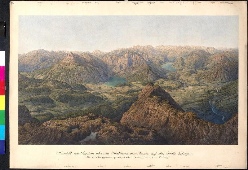 Aussicht vom Sarstein über das Talbecken von Aussee auf das Tote Gebirge, 1864