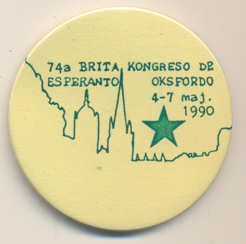 Abzeichen: 74a Brita Kongreso de Esperanto, Oksfordo 4-7 maj. 1990