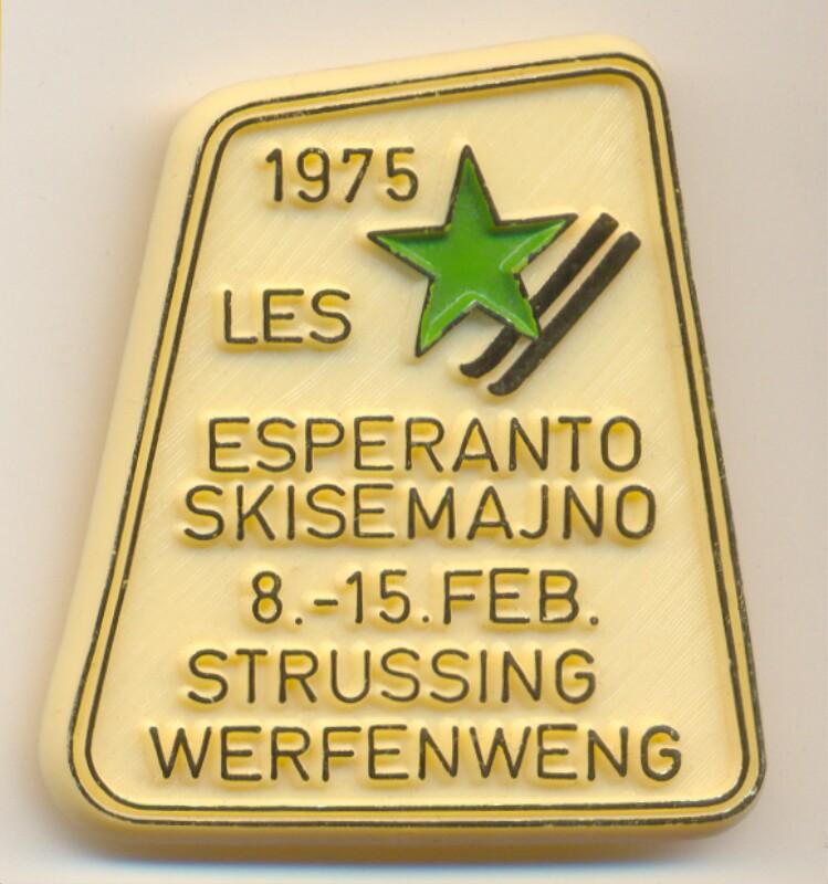 Abzeichen: 1975 LES, Esperanto Skisemajno, 8.-15. feb., Strussing Werfenweng