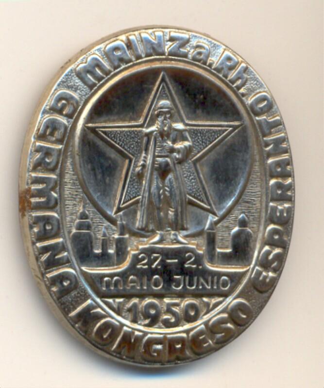 Abzeichen: Germana Kongreso Esperanto, Mainz a. Rh., 27. majo - 2. junio 1950