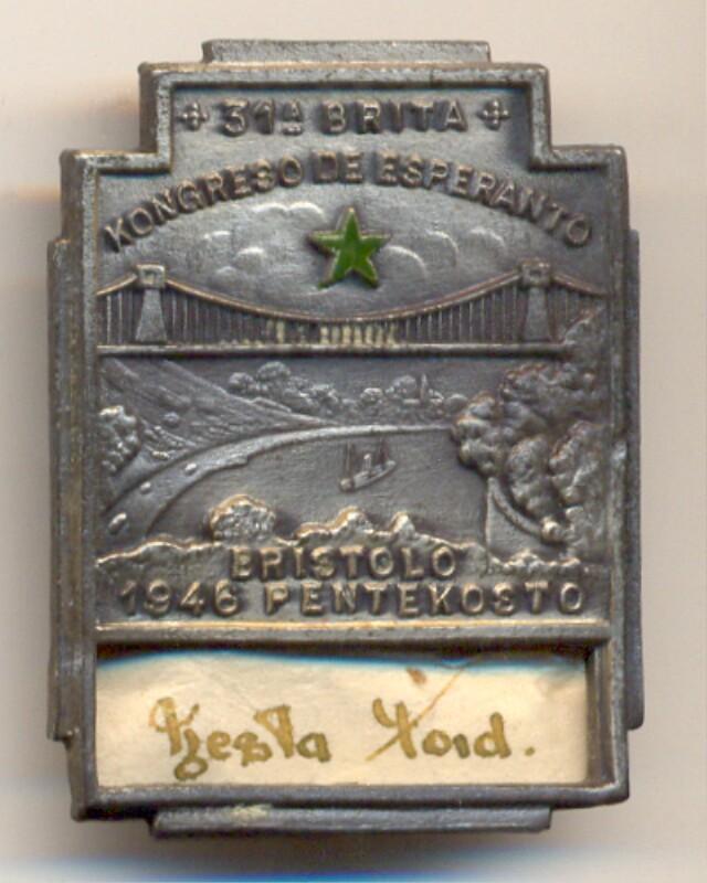 Abzeichen: 31a Brita Kongreso de Esperanto, Bristolo 1946, Pentekosto