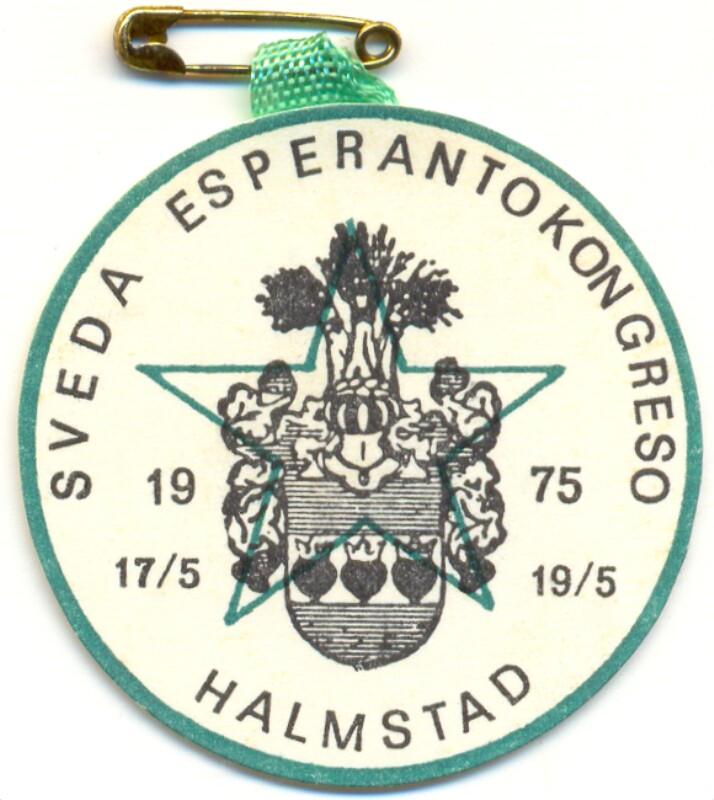 Abzeichen: Sveda Esperantokongreso, Halmstad 17/5 - 19/5 1975