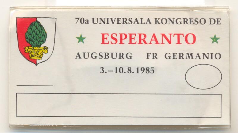 Abzeichen: 70a Universala Kongreso de Esperanto, Augsburg, FR Germanio, 3.-10.8.1985