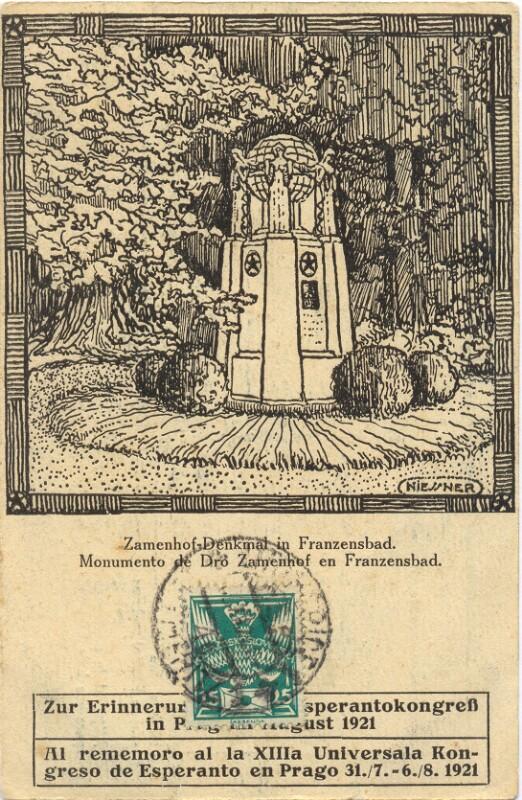 Ansichtskarte: Zamenhof-Denkmal in Franzensbad. Zur Erinnerung an den 13. Esperantokongreß in Prag im August 1921